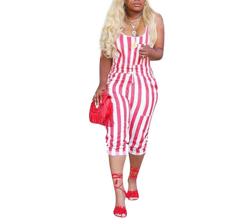 Red White Stripes Sleeveless Tank Mid-Calf Length \Jumpsuit