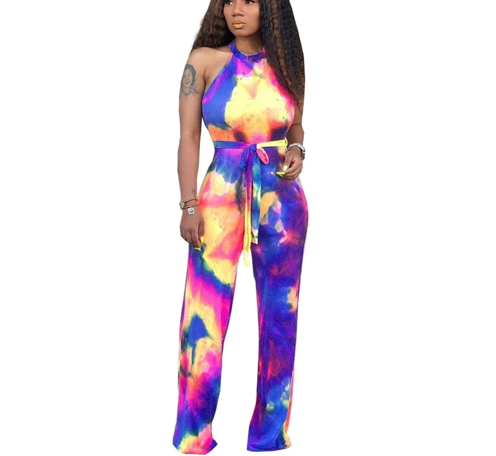 Tie Dye Galaxy Print Sleeveless With Sashes Straight Jumpsuit