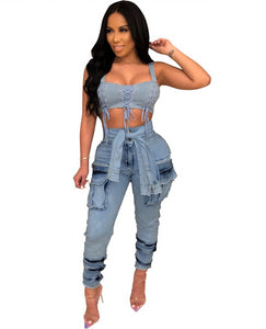 Tie Up High Waist With Pockets Denim Jeans