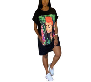 Character Print Short Sleeve Knee Length Slim T-Shirt Dress