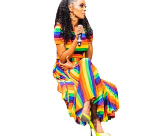 Short Sleeve O-Neck Rainbow Stripes Print Maxi Dress