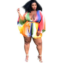 Load image into Gallery viewer, Rainbow Stripe Print Chiffon Short Long Sleeve V-Neck Romper/ Jumpsuit