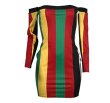 Load image into Gallery viewer, Multi Color Stripe Above Knee Off Shoulder Knit Mini Dress