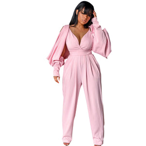 V-Neck Cut Out Long Sleeve Jumpsuit