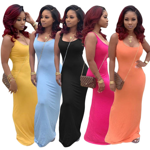 5 Colors O-Neck Long Maxi Dress