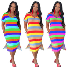 Load image into Gallery viewer, V-Neck Striped Print Loose Dress