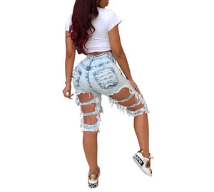 Hole High Waist Zipper Fly Knee Length Jeans Denim Shorts