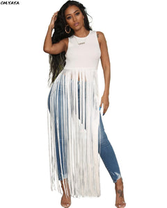 O-Neck Sleeveless Tassel Long Maxi Dress