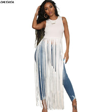 Load image into Gallery viewer, O-Neck Sleeveless Tassel Long Maxi Dress