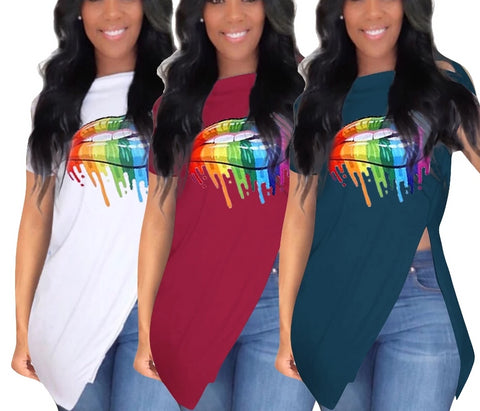 3 Colors painting Colorful Mouth Print Slash Neck Short Sleeve Side Split T-Shirts