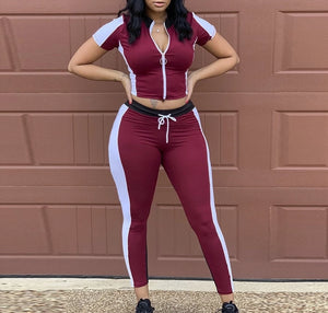 2 Piece Short Sleeve Zipper Up Top And Pants Set
