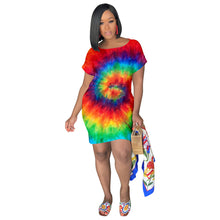 Load image into Gallery viewer, Tie Dye Black Hole Short Sleeve Above Knee T-Shirt Dress