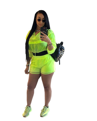 Fluorescent Top+Shorts Two Piece Set