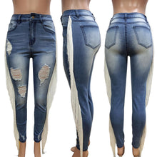 Load image into Gallery viewer, high waist  zipper fly pencil jeans tassel side