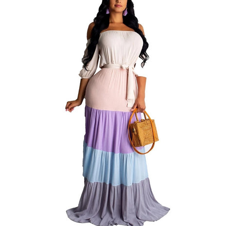 Chiffon Off Shoulder Wrist Sleeve High Waist Sashes Patchwork Floor Length Maxi Dress