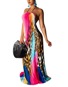 Leopard Colorful Print Halter Neck Qpen Back Mermaid Maxi Dress