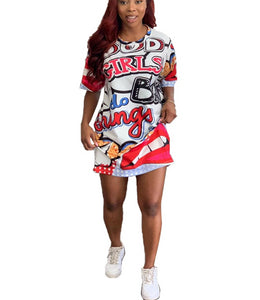 Letter Cartoon Print Crew Neck Short Sleeve Mini Dress
