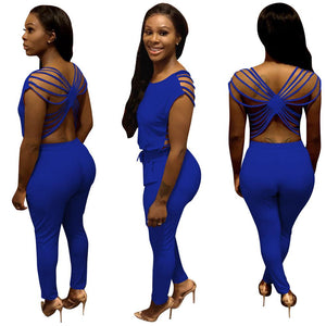 O-Neck Sleeveless Backless Cross Pockets Bodycon jumpsuit/Romper
