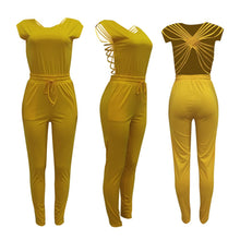 Load image into Gallery viewer, O-Neck Sleeveless Backless Cross Pockets Bodycon jumpsuit/Romper