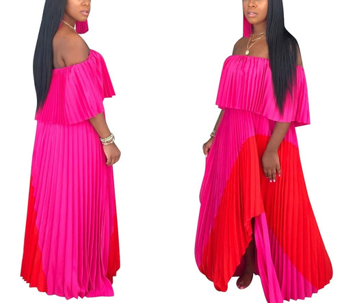 Off The Shoulder Chiffon Long Maxi Dress