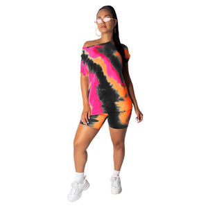 Tie Dye Short Sleeve Top & Shorts Set