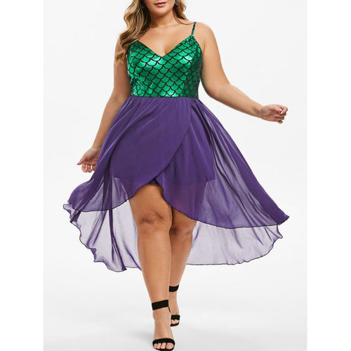 Mermaid Scales Overlap High Low Plus Size Dress - Purple