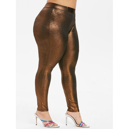 Plus Size Shiny Skinny Leggings - Bronze