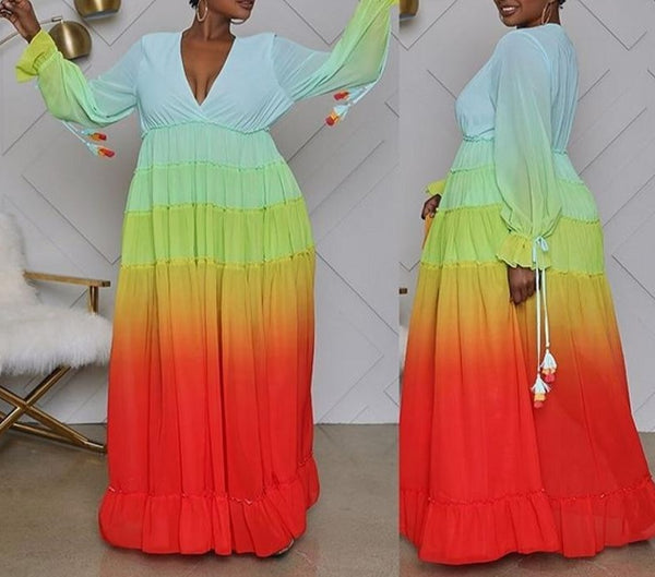 Long Colorful African Style Maxi Dress