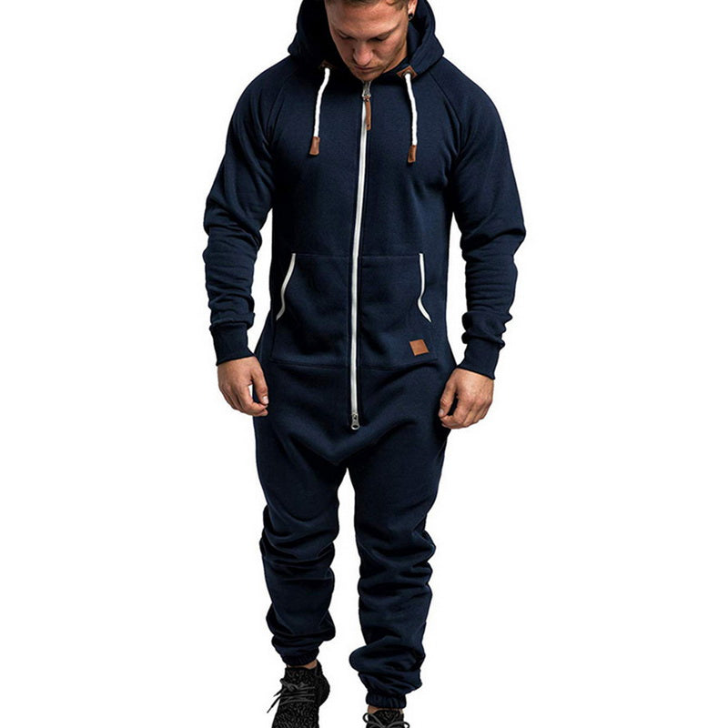 Men One Piece Overalls Winter Fleece Zipper Jumpsuit