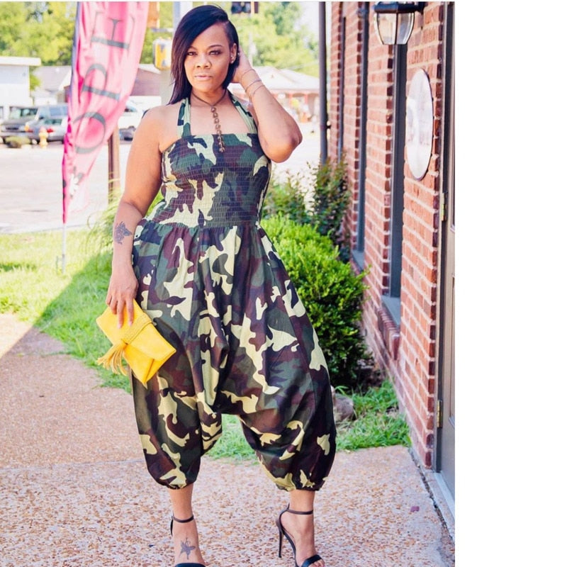 Plus Size Loose Sleeveless Halter Camouflage Print Backless Jumpsuit