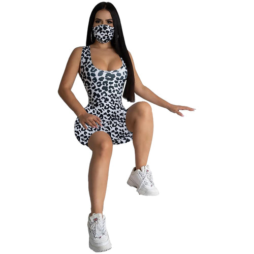 O-Neck Leopard Print Rompers +Masks One Piece Jumpsuit