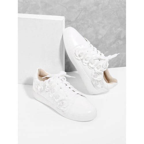 Floral Appliqued Lace Up Sneakers - kats closet1