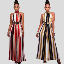 Load image into Gallery viewer, Turtleneck Stripes High Waist Flared Jumpsuit - kats closet1