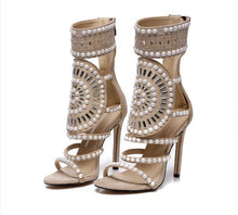 Load image into Gallery viewer, Open Toe Rhinestone Design High Heel Crystal Ankle Wrap Glitter Diamond Shoes - kats closet1