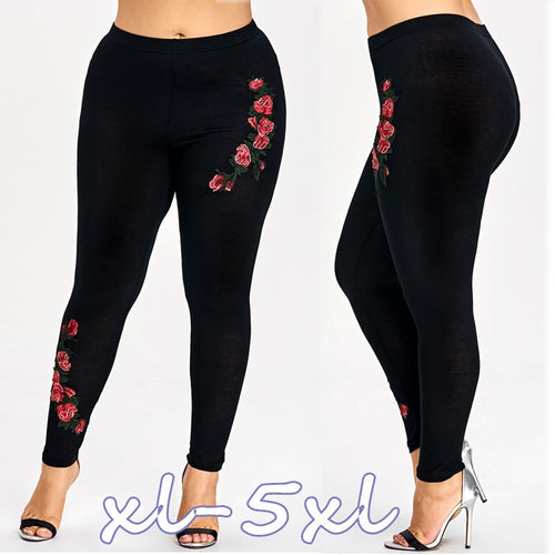 Women's Sexy Skinny Leggings Stretch Pants Plus Size Embroidery Floral Leggings - kats closet1