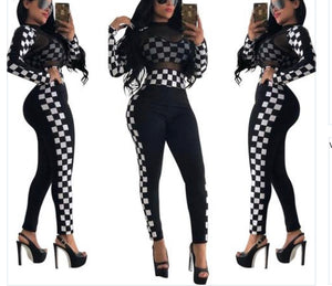 2 Piece Plaid Lace Full Sleeve Full Length Bodycon Set