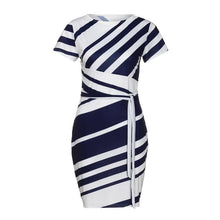 Load image into Gallery viewer, Women Elegant Dress 2018 Summer Short Sleeve O Neck Knee Length Shift Dresses With Belt OL Style Work Dress #L - kats closet1