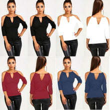 Load image into Gallery viewer, Women Fashion Off Shoulder 3/4 Sleeve Blouse Loose Casual T-Shirt Tops - kats closet1