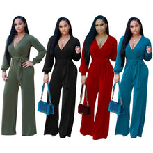 Load image into Gallery viewer, V Neck Long Sleeve Loose Jumpsuit - kats closet1