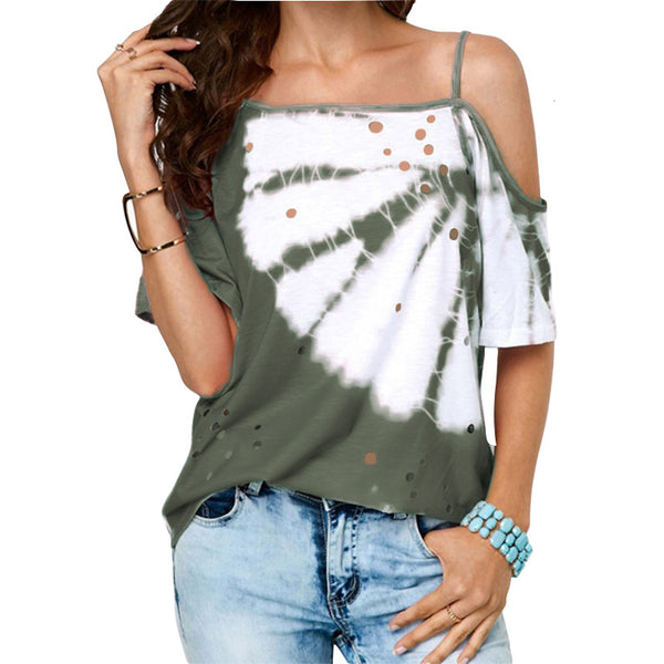 Tie Dye Collar Hanging Loose Shirt - kats closet1