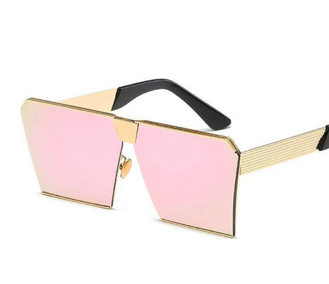 Personality Colorful Square Metal Gold Sunglasses - kats closet1