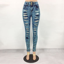Load image into Gallery viewer, Women's Fashion Sexy High Waist Pencil Jeans Casual Blue Ripped Denim Pants Lady Long Skinny Slim Jeans Trousers - kats closet1