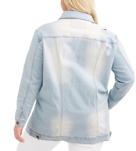 Plus Oversized Long Distressed Denim Jacket - kats closet1