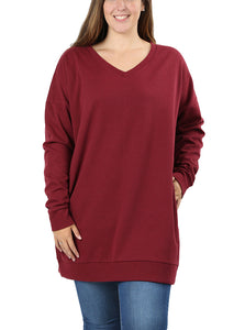 JED FASHION Women's Plus Size Comfy Fit V-Neck Tunic SweatshirtJED FASHION Women's Plus Size Comfy Fit V-Neck Tunic Sweatshirt - kats closet1