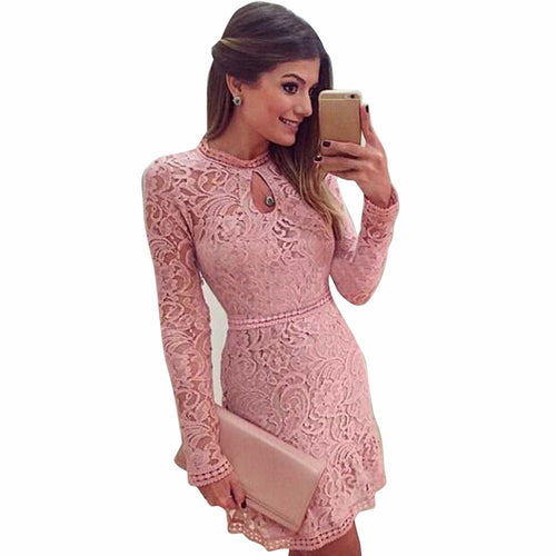 Long Sleeve Pink Elegant Lace Bodycon Dress - kats closet1