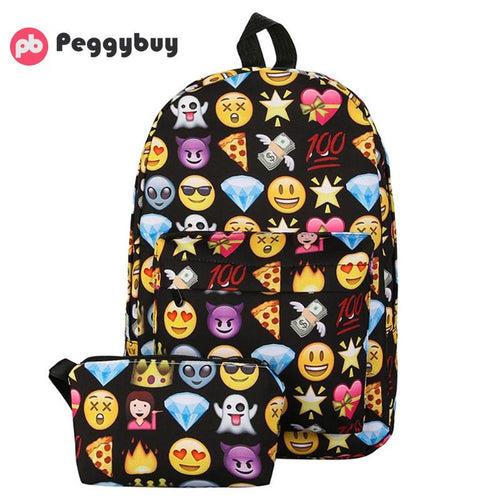 2 Piece Emoji Waterproof Backpack