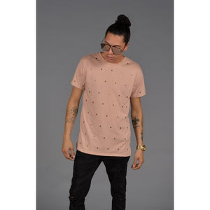 Skull Studded Short Sleeve T-Shirt (Dirty Pink) - kats closet1
