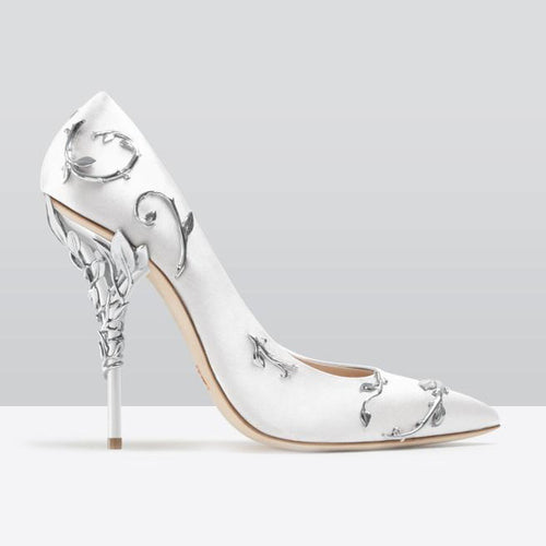 Boussac Elegant Silk Women Pumps High Heels Rhinestone Flower Wedding Pumps Brand Design Pointed Toe High Heels Shoes - kats closet1