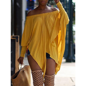 Asymmetrical off shoulder Oversize Blouse