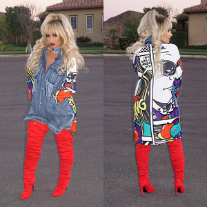 Streetwear Print Denim Jacket - kats closet1